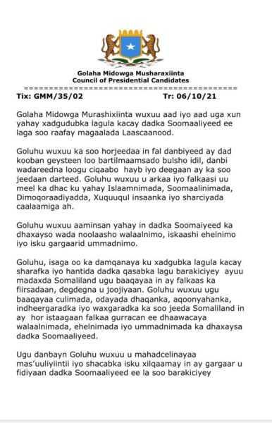 golaha midowga murashixiinta oo ugu baaqaymaamulka somaliland inuu joojiyo musaafurinta dadka